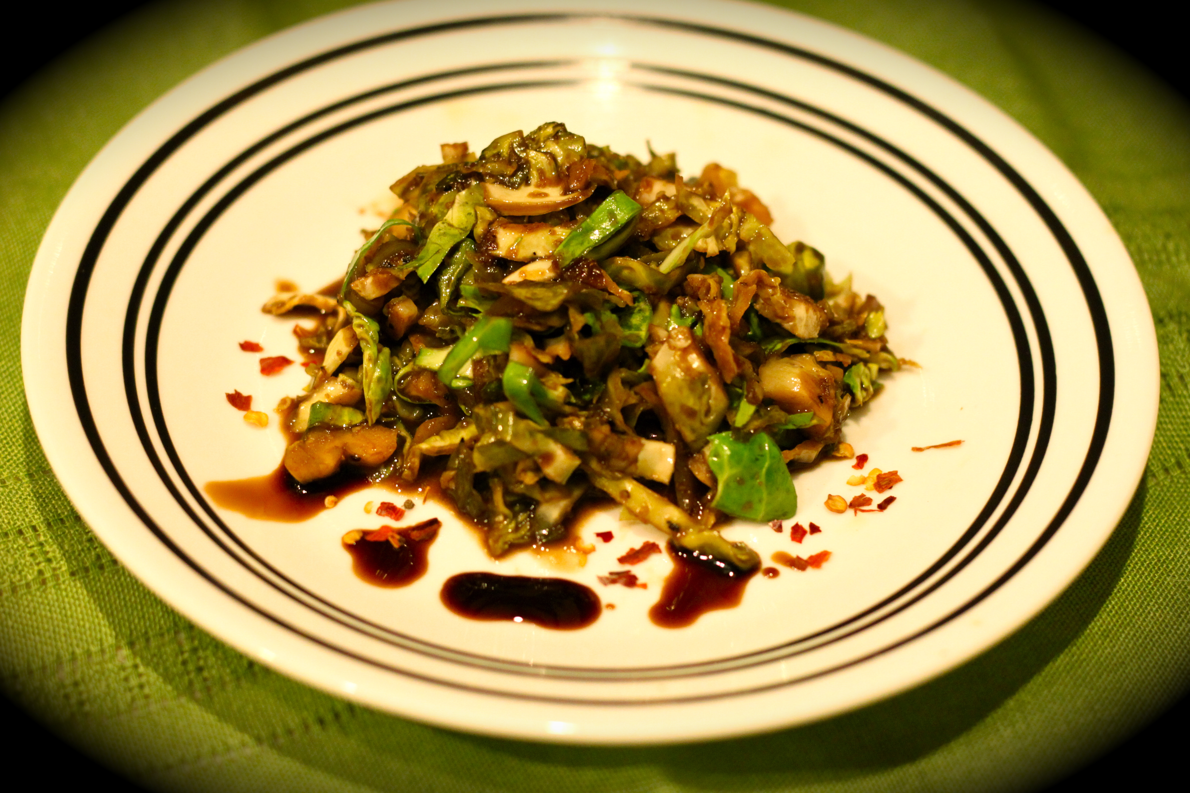 Shredded Brussels Sprouts with Garlic and Balsamic Vinegar |