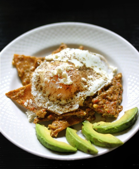 Roasted Poblano Chilaquiles with Fried Eggs |