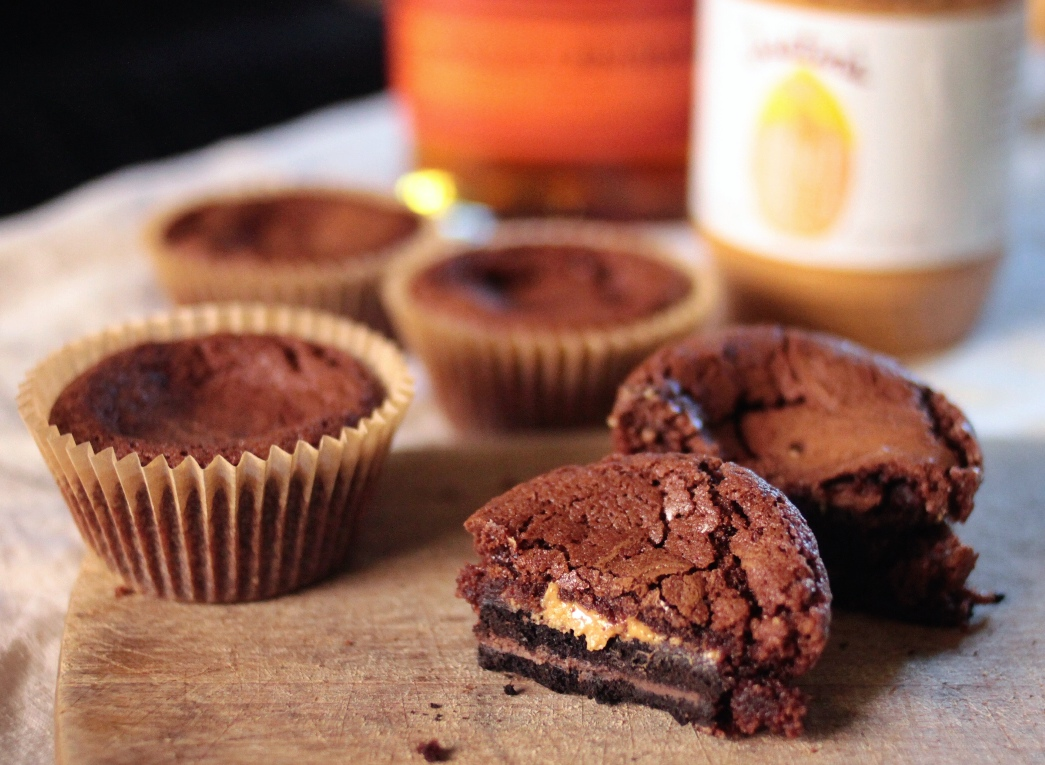 Peanut Butter Bourbon Brown Butter Brownie Cookie Cups |