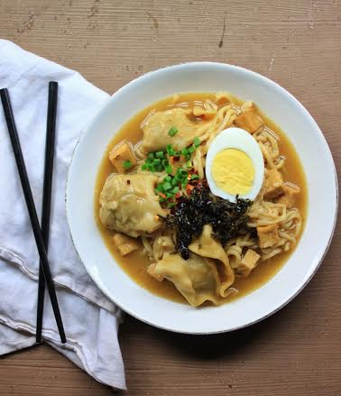 Forbidden Rice Blog | Miso Mushroom Ramen with Vegetarian Wontons and Crispy Tofu