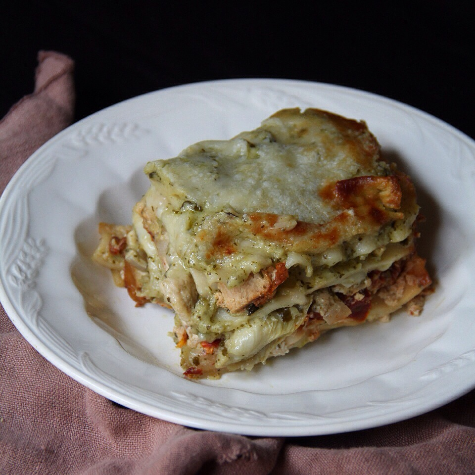 Forbidden Rice Blog | Creamy Pesto Chik'n Lasagna with Artichokes and Sun Dried Tomato Ricotta