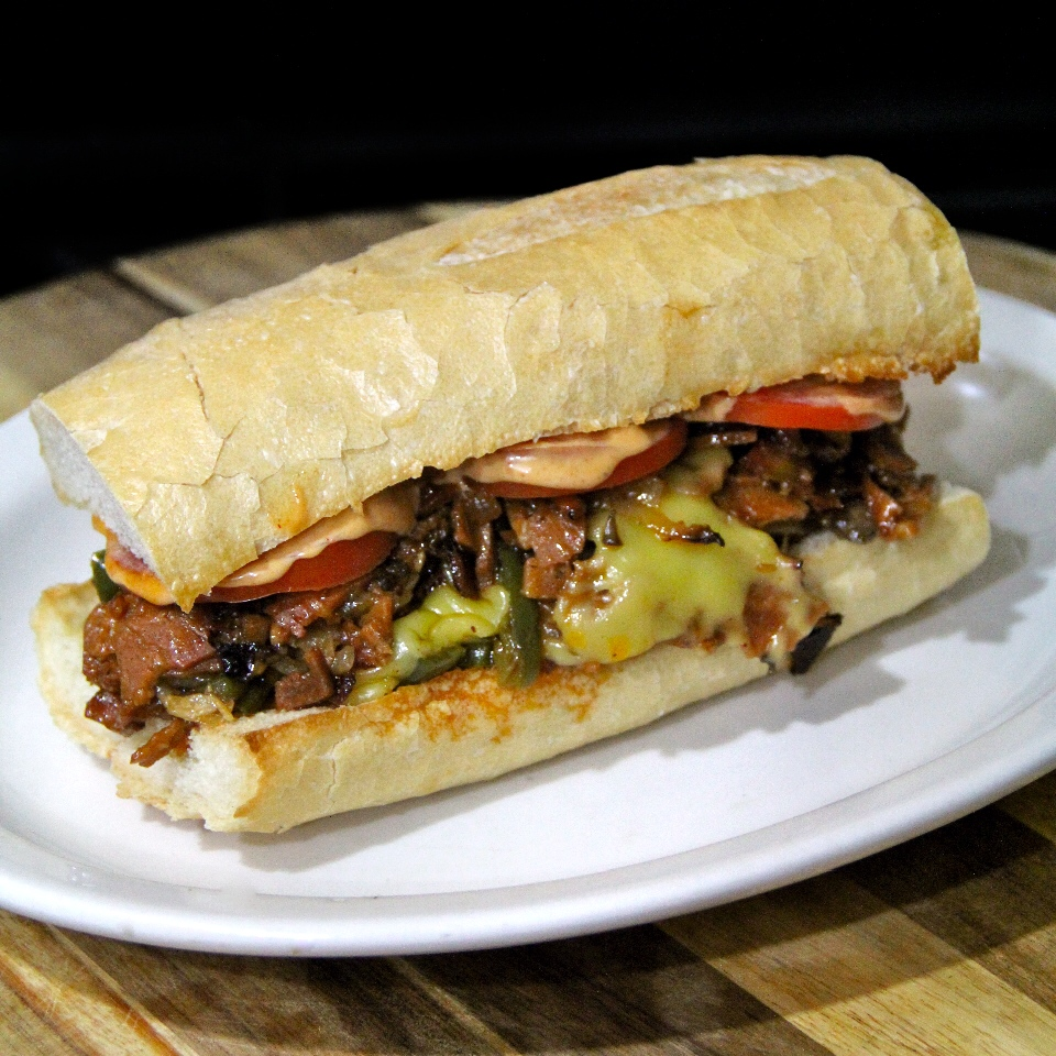 """Vegan Philly """"Cheese Steak"""" with Mushrooms and Chipotle Garlic Mayo, Field Roast, Cooks in the Field 2015, Vegan Philly Cheesesteak"""