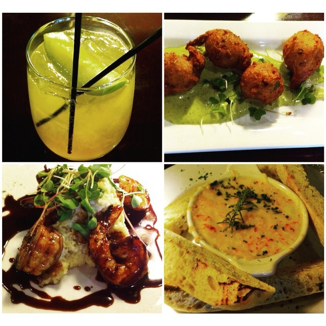 an oregon mule (cinnamon apple vodka, lime and ginger beer); spring pea hush puppies with lemon basil aioli; new orleans style bbq prawns with smoked brie grits; dungeness crab + 5 cheese fondue with grilled rosemary bread!